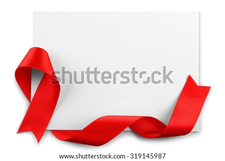 Card with red ribbon isolated on white - stock photo