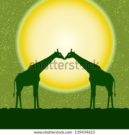 Card with two giraffe silhouettes over sun. Raster version. - stock photo