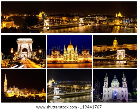 Card with views of night Budapest - stock photo
