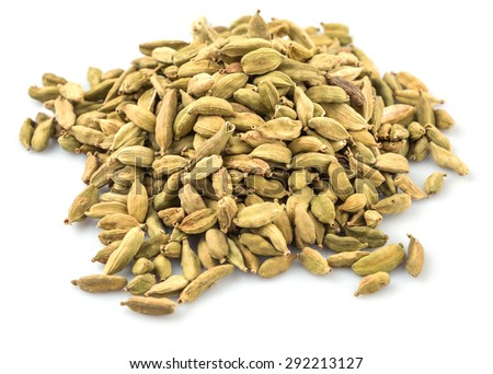 Cardamom spices over white background - stock photo