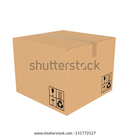 cardboard box closed - stock photo