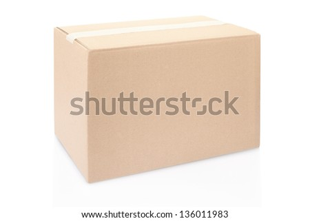 Cardboard box closed isolated on white, clipping path included - stock photo