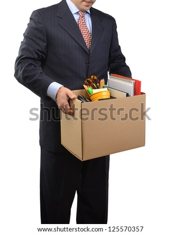 Cardboard box collected in connection with dismissal - stock photo