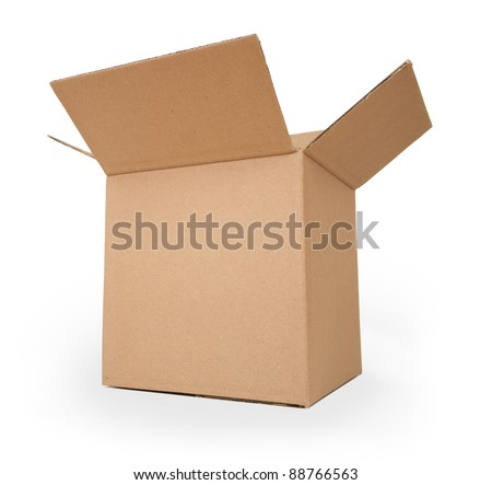 Cardboard box.  Front View. With shadows and isolated on white. - stock photo