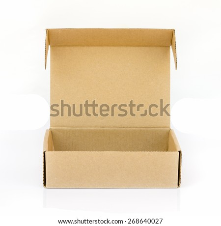 cardboard  box  isolated on a white background. - stock photo