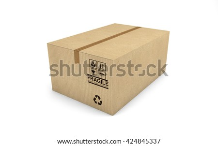 Cardboard box isolated on white background with clipping path. 3d rendering - stock photo