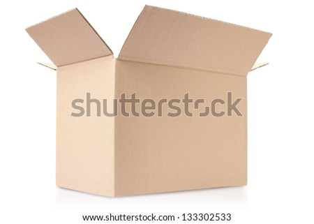 Cardboard box isolated on white, clipping path included - stock photo