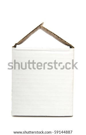 Cardboard box on a white background close up - stock photo