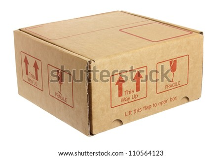 Cardboard Box on White Background - stock photo