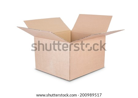 Cardboard box on white background. - stock photo