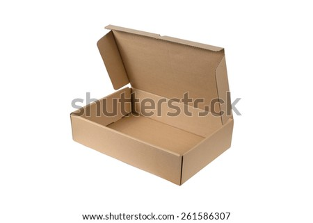 Cardboard Box or brown paper box isolated on White background - stock photo