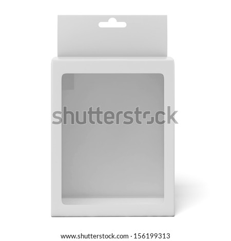 Cardboard box with a transparent plastic window - stock photo
