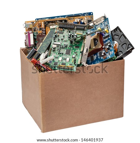 cardboard box with computer details - stock photo