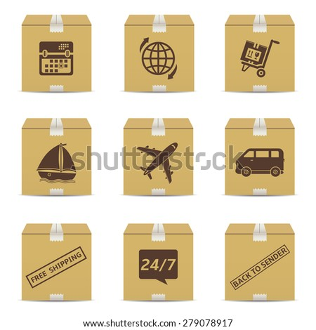 Cardboard box with delivery signs - stock photo