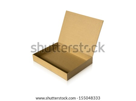 Cardboard box with flip open lid, isolated on white. - stock photo