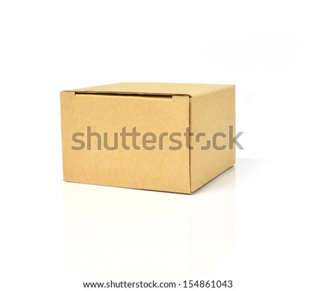 Cardboard box with isolated on white - stock photo