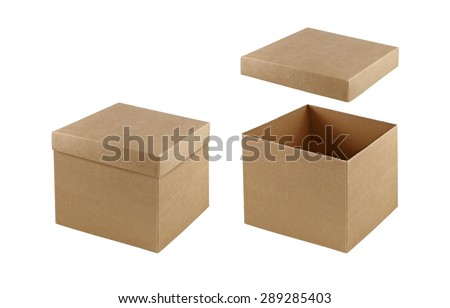 Cardboard box with lid opened and closed isolated on white background. Packaging collection - stock photo