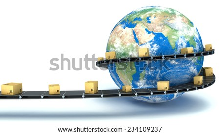 Cardboard boxes are delivered all over the world on the conveyor - stock photo
