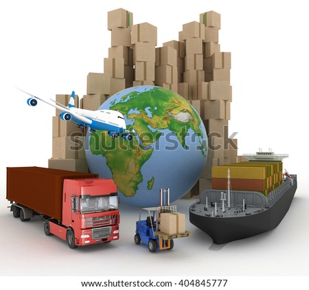 Cardboard boxes around globe, cargo ship, truck and plane. - stock photo