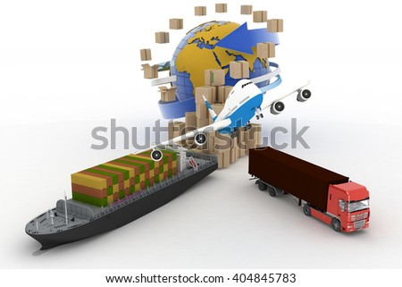 Cardboard boxes around globe, cargo ship, truck and plane - stock photo
