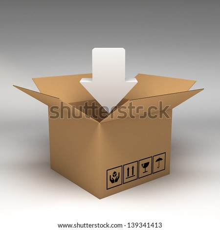 Cardboard boxes 3d illustration - stock photo