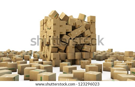 cardboard boxes isolated on white background - stock photo