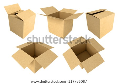 Cardboard boxes isolated on white background, 3d render - stock photo