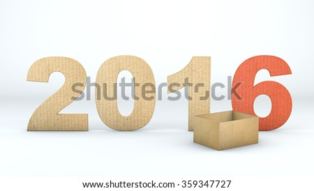 Cardboard boxes New Year 2016 - stock photo