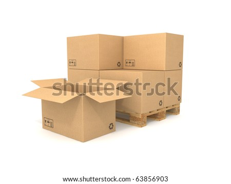 Cardboard boxes on a pallet. Isolated on white background. Computer generated image. - stock photo