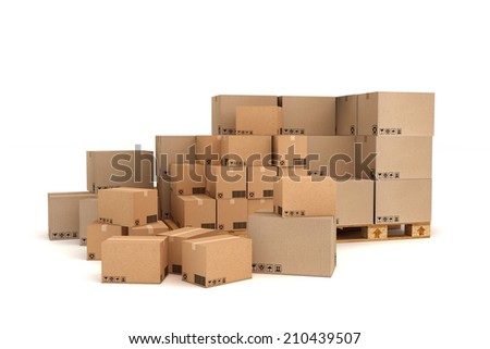 Cardboard boxes on pallet. Cargo, delivery and transportation logistics storage. - stock photo