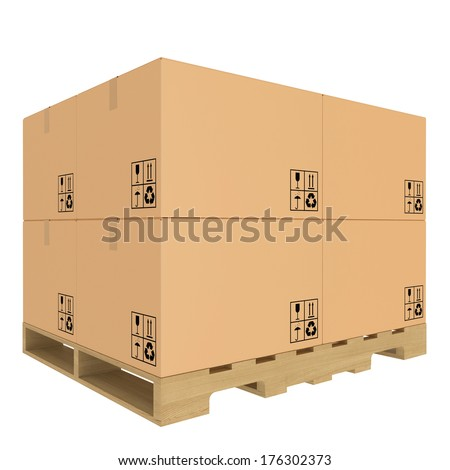 Cardboard boxes on pallet. Isolated on white background. - stock photo