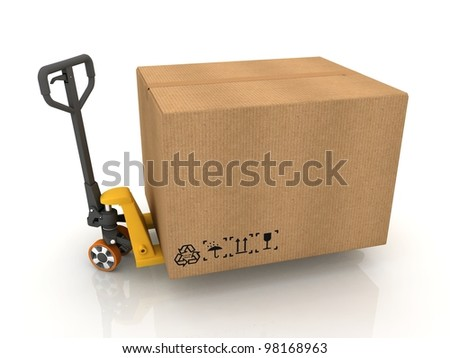 Cardboard Boxes on Pallet Truck Isolated on White - stock photo
