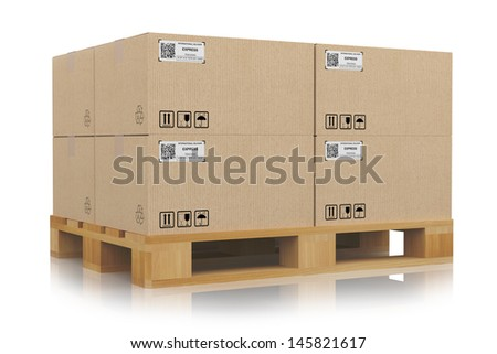 cardboard boxes on pallets - stock photo