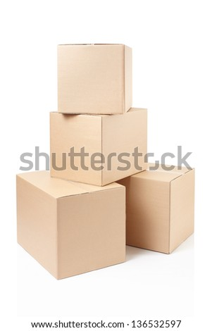 Cardboard boxes on white, clipping path included - stock photo