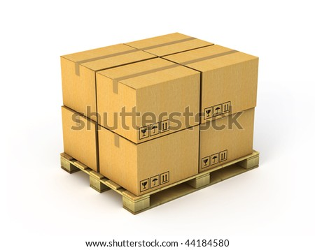 Cardboard boxes on wood pallet - stock photo