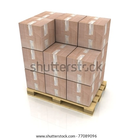 Cardboard boxes on wooden pallet - stock photo