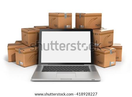 cardboard boxes package parcels and laptop - Logistic, cargo, delivery, and shipping concept.3D rendering - stock photo
