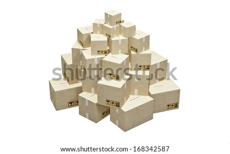 Cardboard boxes stacked in a pyramid on white background - stock photo