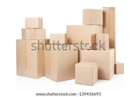 Cardboard boxes with clipping path - stock photo