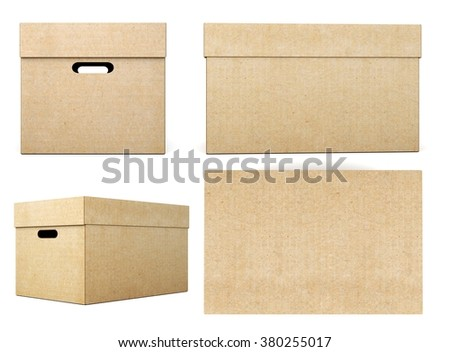 Cardboard boxes with different angles on a white background. 3d rendering. - stock photo