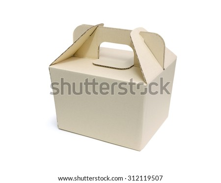 Cardboard fast food box on white background with clipping path. Paper packaging box. - stock photo