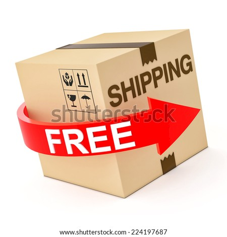 Cardboard Free Shipping 3d isolated on white - stock photo