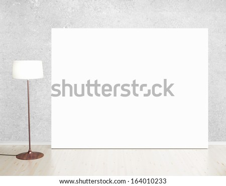 cardboard in room with ceiling lamp - stock photo