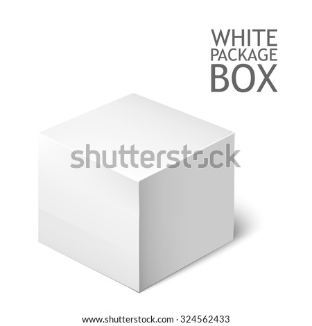 Cardboard Package Box. White Package Square For Software, DVD, Electronic Device And Other Products. Mock Up Template Ready For Your Design.  Illustration Isolated On White Background. - stock photo