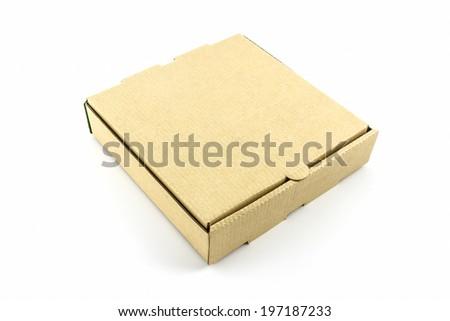 Cardboard pizza box isolated on white background.  - stock photo