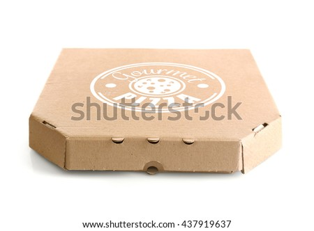 Cardboard pizza box isolated on white background, close up - stock photo