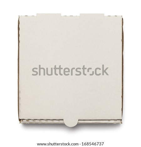 Cardboard Pizza Box with Copy Space Isolated on White Background. - stock photo