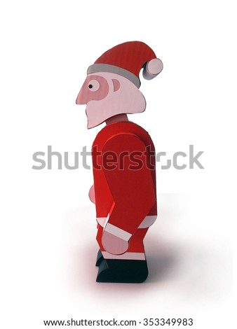 Cardboard Santa Claus standing - stock photo