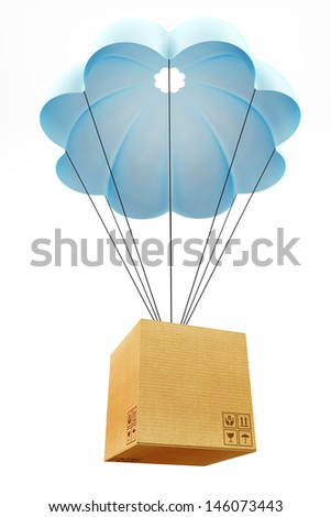 Cardbourd box with parachute concept  - stock photo