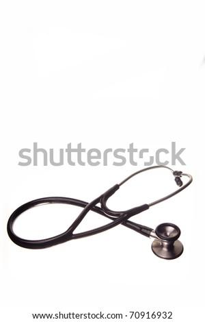 Cardiac Stethoscope isolated on white - stock photo